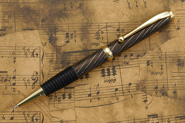 Blued Damascus Pen with Gold Plate Fittings