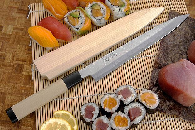 Suminagashi Right-Handed Yanagiba (Sashimi Knife) - 240mm (9 1/2 in.) with Saya