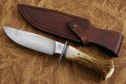Carved Moose Antler Bowie