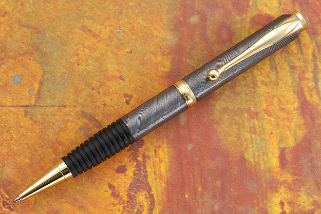 Damascus Pen with Gold Plate Fittings