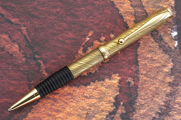 Gold Plated Damascus Pen with Gold Plate Fittings