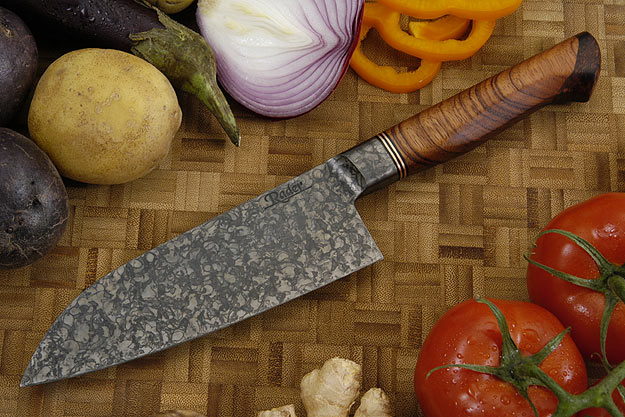 Petit Santoku - Mustard finish with Bubinga and Koa (6 1/8