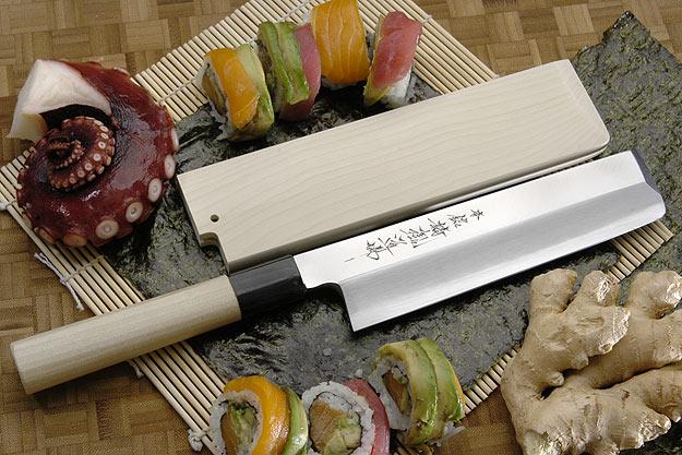 Hontan Seikon Dojo Professional Right-Handed Usuba Hocho - 180mm -- with Saya