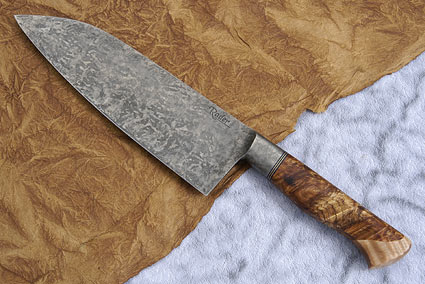 Santoku with Maple Burl and Curly Maple (7 2/3 in)
