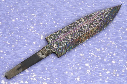 Heat Blued Filigree Damascus Blade (4 1/4 in)