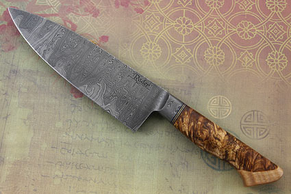 Damascus Chef's Knife with Maple Burl and Curly Maple (6 1/2 in.)