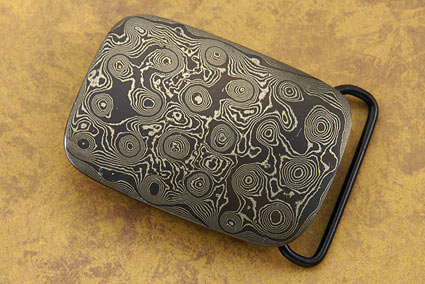 Raindrop Damascus Belt Buckle