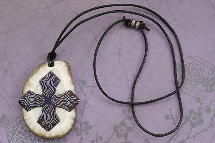 Dancing Zebra Damascus Cross Pendant
