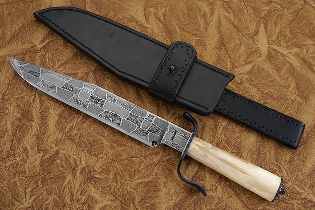 Mosaic Damascus Bowie<br>Journeyman Smith Knife of the Year, 2000