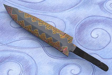 Clip Point Zipper Weld Mosaic Damascus Blade