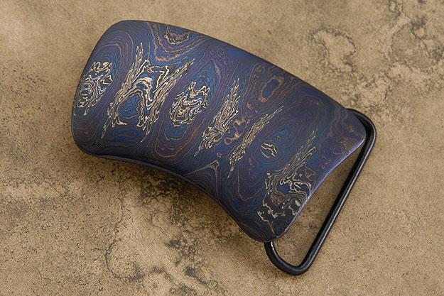 Blued Arch Damascus Belt Buckle
