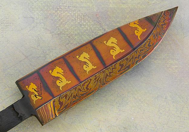 Golden Dragon Damascus Blade (4.7 in.)