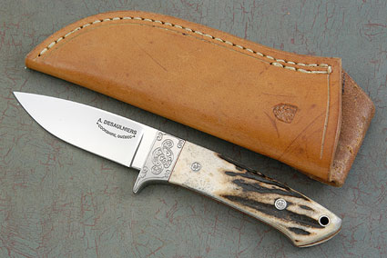 Engraved Drop Point Hunter with Stag