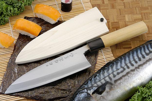 Hontan Seikon Dojo Professional Left-Handed Deba Hocho - 180mm -- with Saya