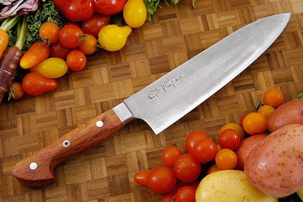 Western Chef's Knife, Suminagashi with Sheoak Burl - 180mm (7 1/4 in)