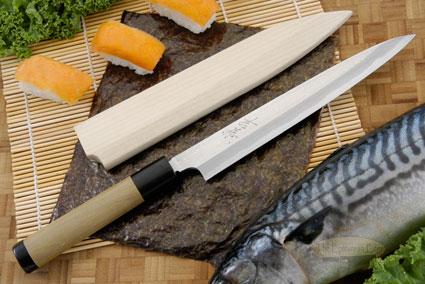 Suminagashi Right-Handed Yanagiba (Sashimi Knife) - 210mm (8 1/4 in.) with Saya