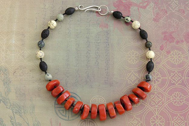 Coral and Lava Rock Necklace