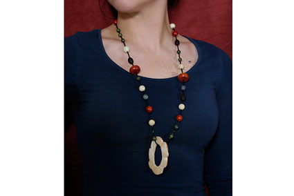 Walrus Ivory Pendant and Beaded Chain