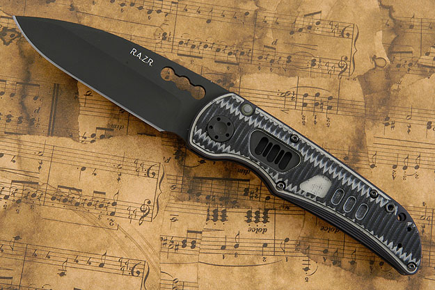 R.A.Z.R. with DLC Blade and Black & Gray Grooved G10