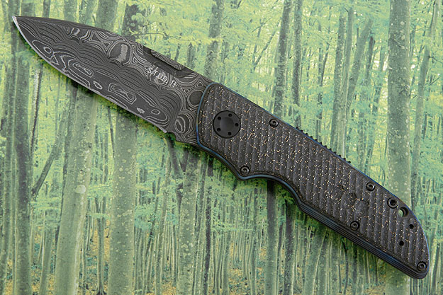 STUD II - Damascus with Grooved Lightning Strike Carbon Fiber