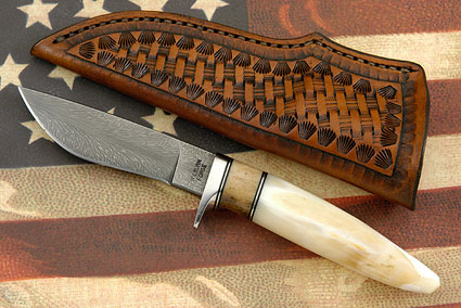 Hippo Tooth Skinner with Feather Damascus