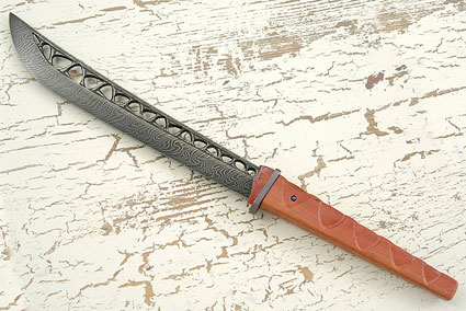 Pierced Damascus Kwaiken with Pink Ivory