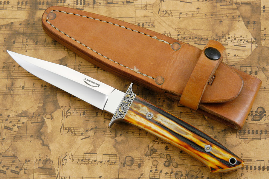 Engraved Boot Knife with Amber Stag