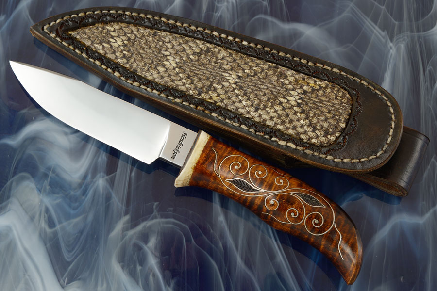 Clip Point Hunter with Silver Inlay Curly Maple