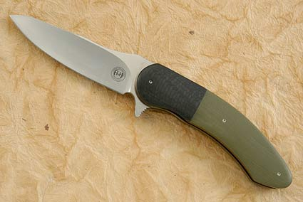 Flipper with OD Green G10 and Carbon Fiber (IKBS)