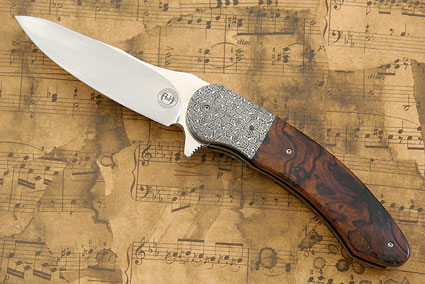 Damascus and Ironwood Flipper with Moonglow II Inlay (IKBS)