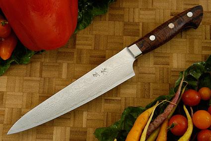 Western Damascus Petit Gyuto/Utility Knife with Koa Handle  - 160mm (6-1/3 in)