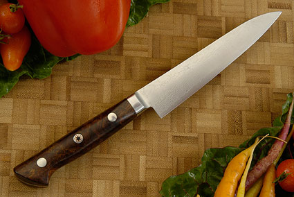 Damascus Utility - Fruit Knife with Ironwood - 135mm/5 1/4 in.