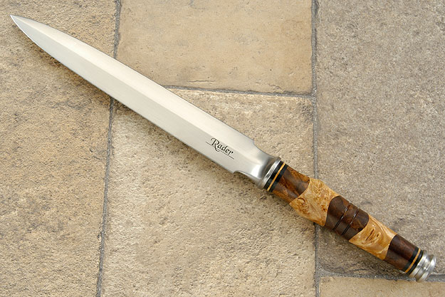 Integral Dagger with Peruvian Walnut and Maple Burls<br>Journeyman Smith Test Knife