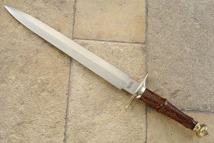 Long Dagger with Redwood Burl<br>Journeyman Smith Test Knife