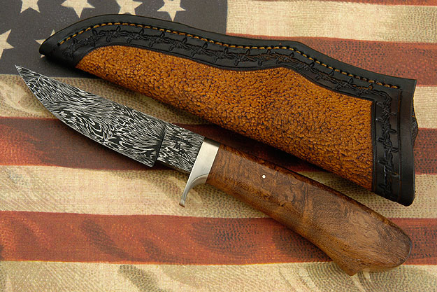 Hunter with Desert Mesquite Burl and Damascus