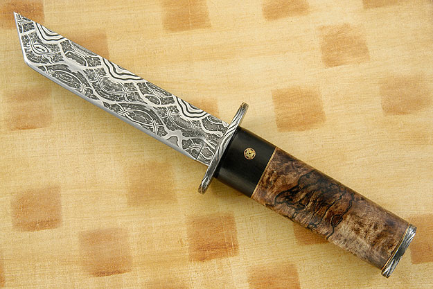 Mosaic Tanto with Spalted Maple<br>Best Damascus - MKA 2011