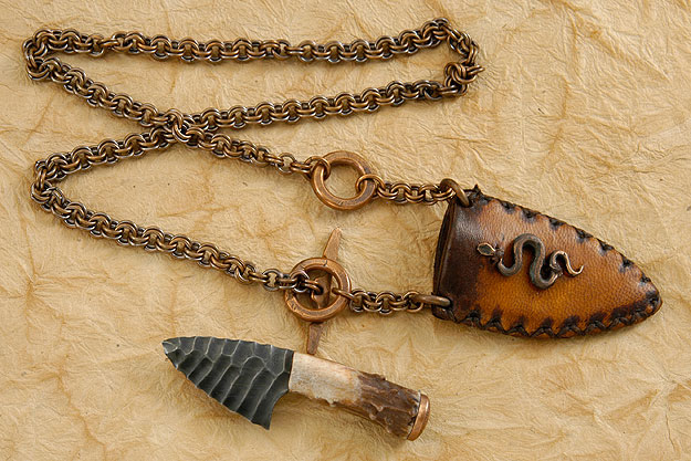 Knapped Steel Neck Knife