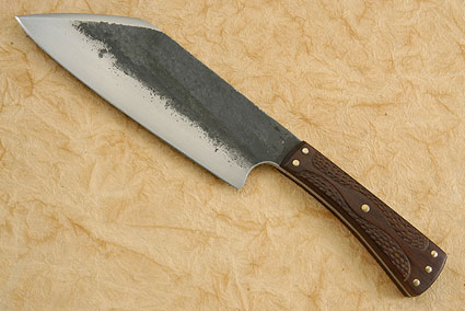 Compact Camp Knife with Carved Ironwood