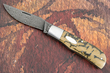 Ladder Damascus Folder with Mammoth Ivory