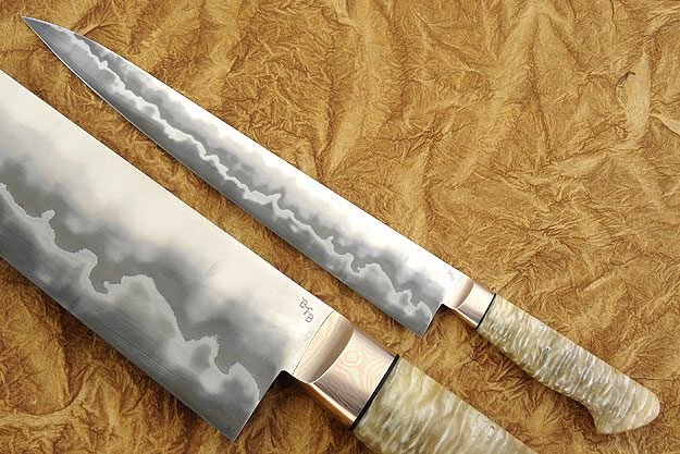 Slicing Knife (Sujihiki) with Muskox Horn (12-1/4