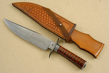 Damascus Bowie with Snakewood