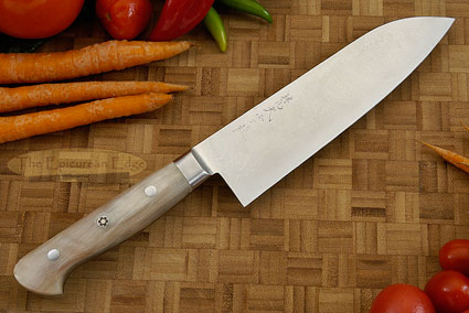 Western Santoku - 165mm (6-1/2 in) - with Sheep Horn, Suminagashi