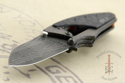 Beetle - San Mai Herringbone Damascus with Lightning Strike Carbon Fiber