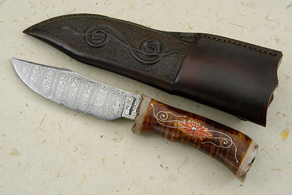 Classic Damascus Clip Point Hunter