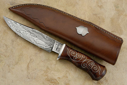 Damascus Clip Point Hunter