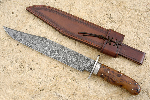Damascus Bowie with Thuya Burl