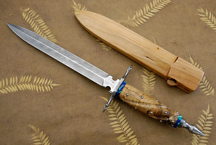 Damascus Dagger with Spalted Maple and Malachite/Azurite