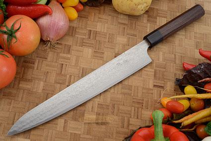Asai PM Damascus Slicing Knife (Sujihiki) - 10-2/3 in. (270mm)