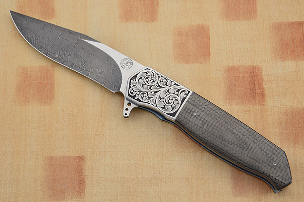 L36 Damascus Engraved Flipper with Carbon Fiber (IKBS)