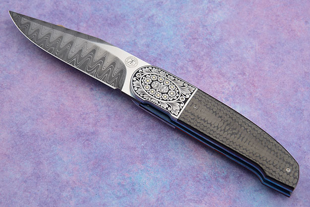 L40 Front Flipper Carbon Fiber and Floral Scroll Engraving